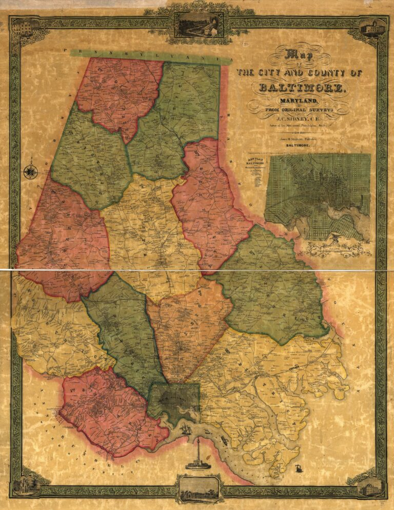 Map of the city and county of Baltimore, Maryland. From original surveys by J.C. Sidney, C.E.