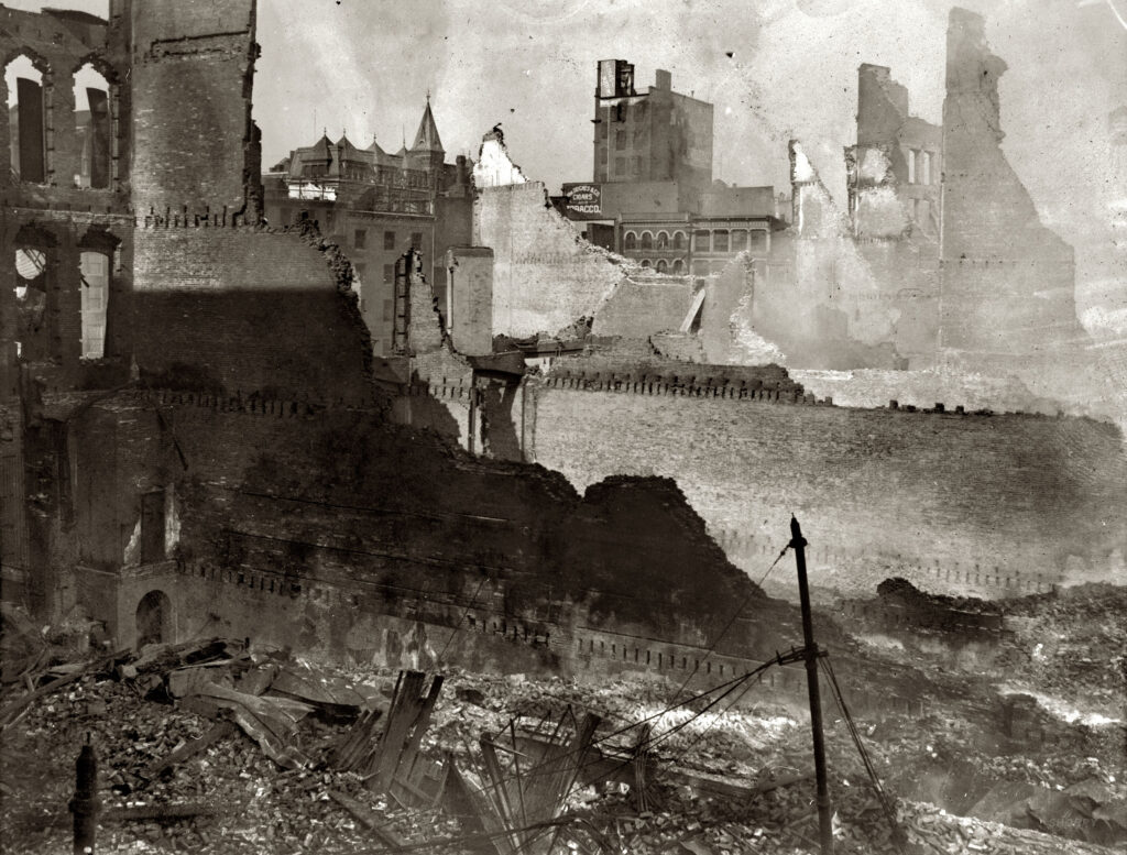 """""""Baltimore Fire of 1904. General view of South Baltimore."""" National Photo Company Collection glass negative, Library of Congress."""