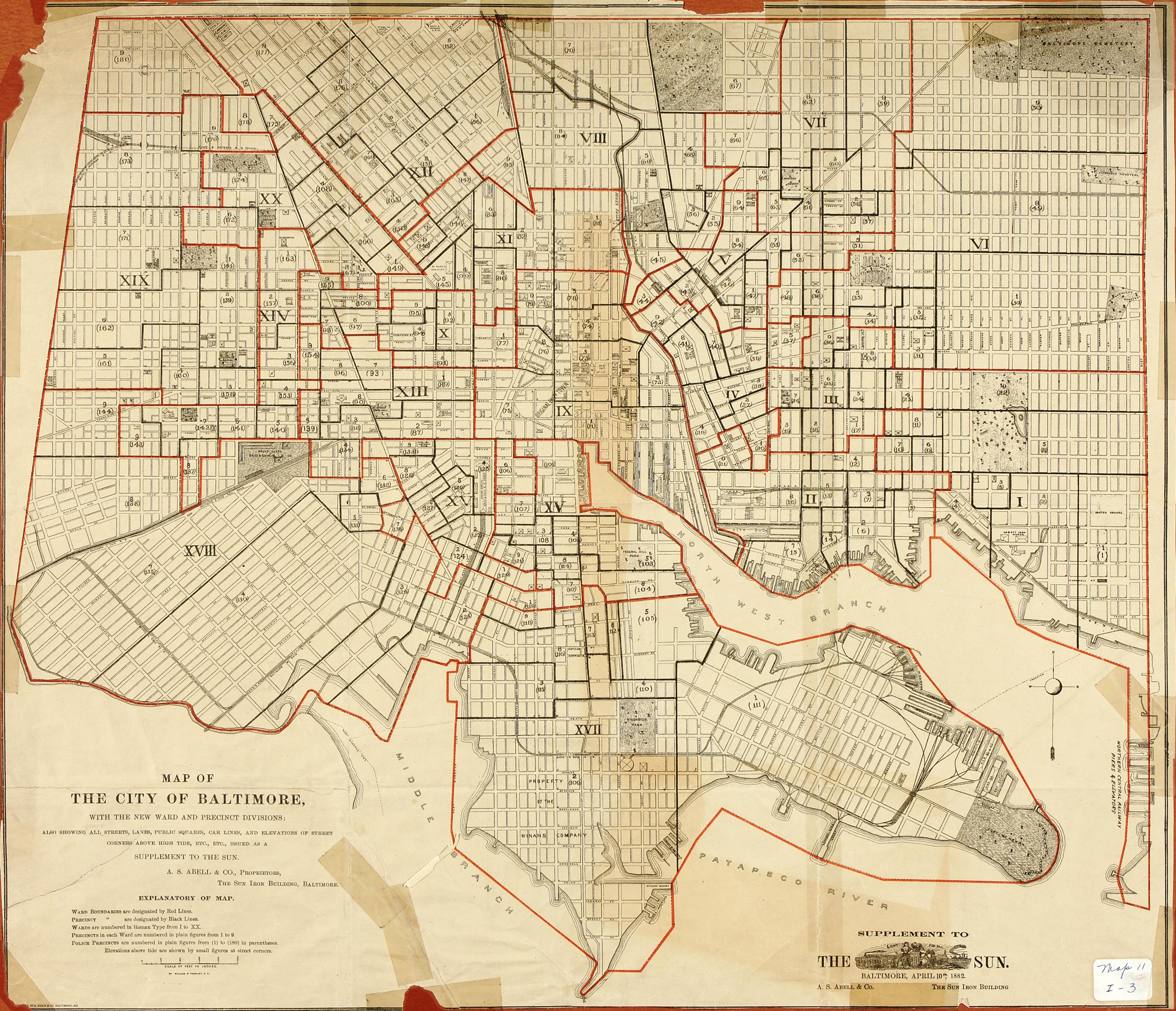 1882 map of Baltimore With New Wards