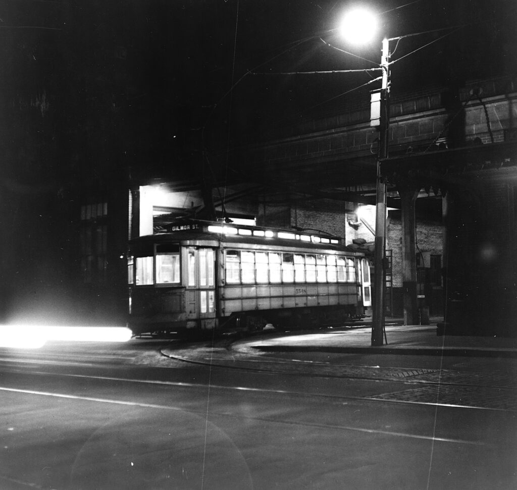 Baltimore trolley leaves the terminal at night