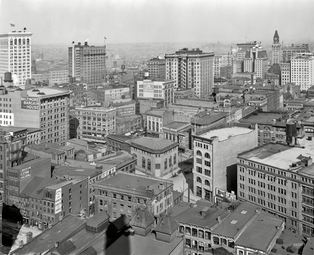 """Circa 1912. """"Baltimore from the Emerson tower."""" 8x10 inch dry plate glass negative, Detroit Publishing Company."""