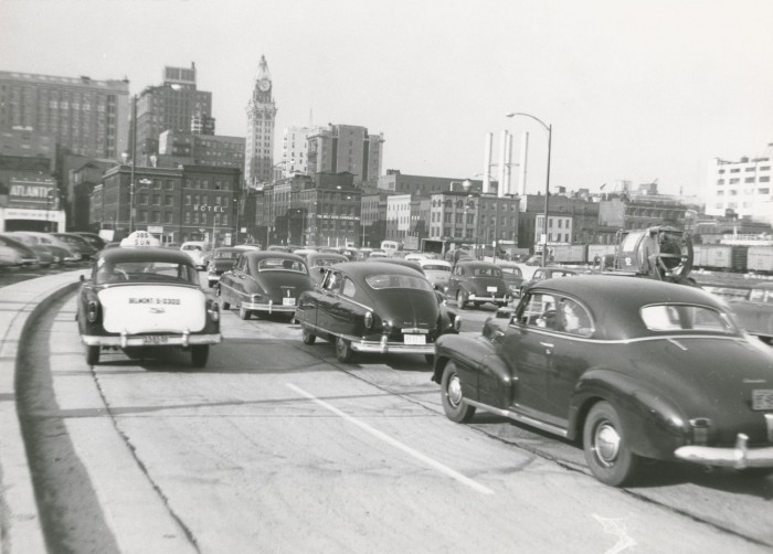 Maryland Casualty clock tower in the distance (1950s)