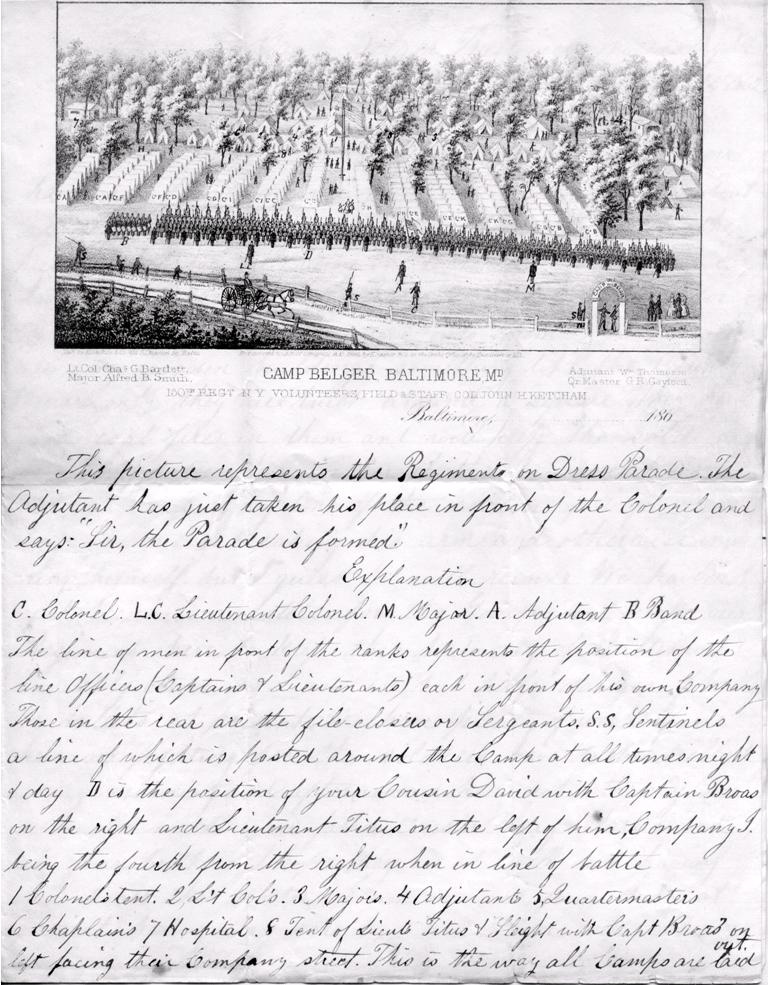 The 150th New York Infantry at Camp Belger, with commentary on the placement of companies and officers by 2nd Lieut. (later 1st Lieut.) David B. Sleight, Company I (written Dec. 24, 1862)