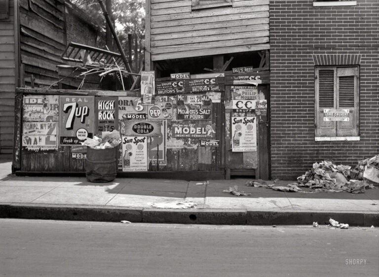 "July 1938. ""Rear of grocery store in Baltimore."" Only hinting at the delights that await within. Medium format nitrate negative by John Vachon."