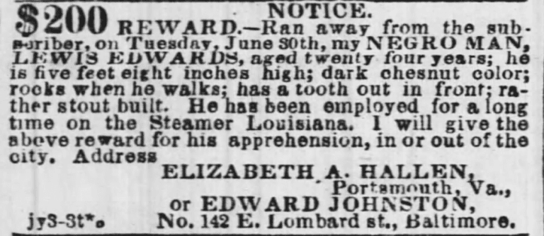 runaway slave notice - July 3rd, 1858