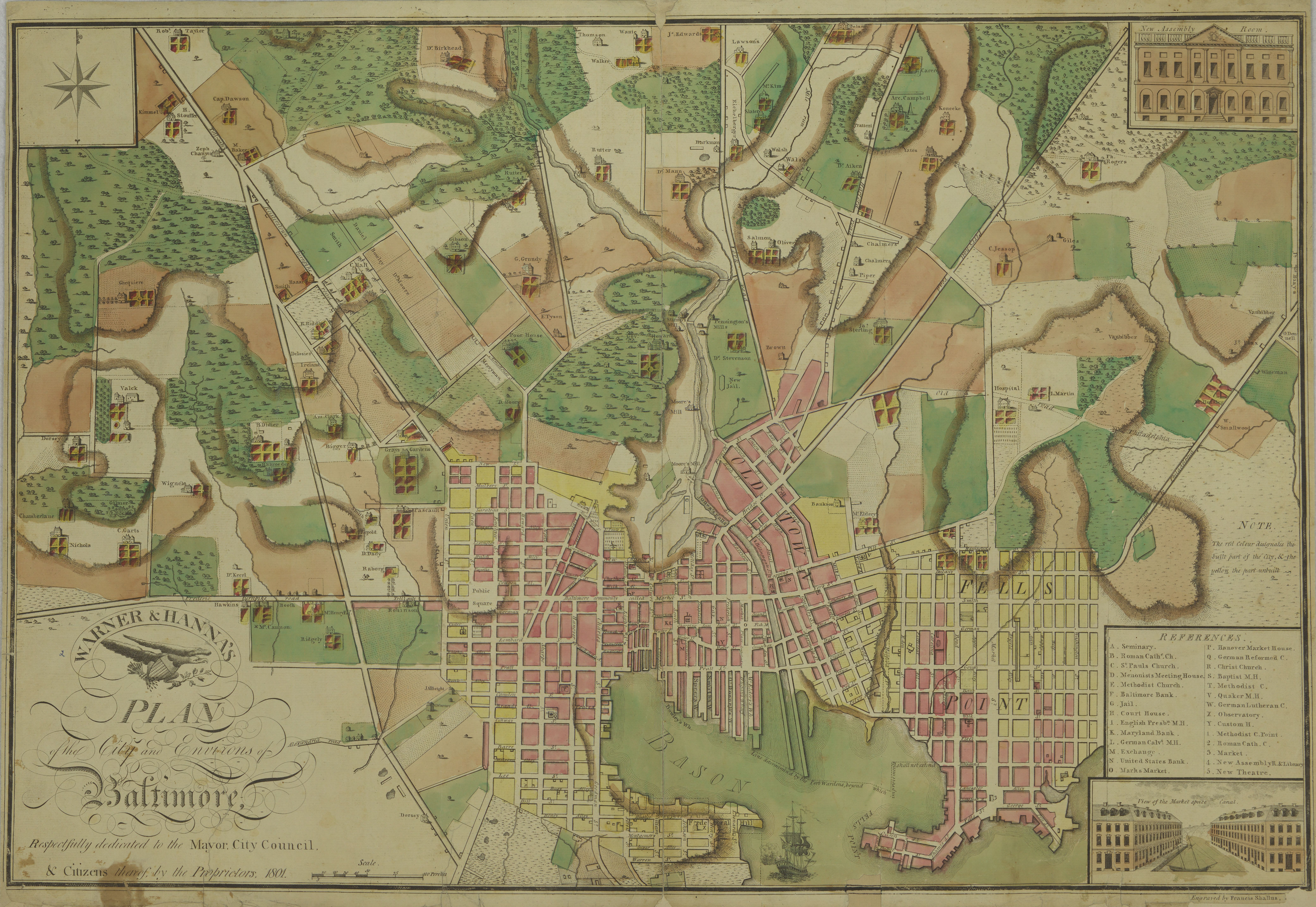 1801 Plan of the City and Environs of Baltimore
