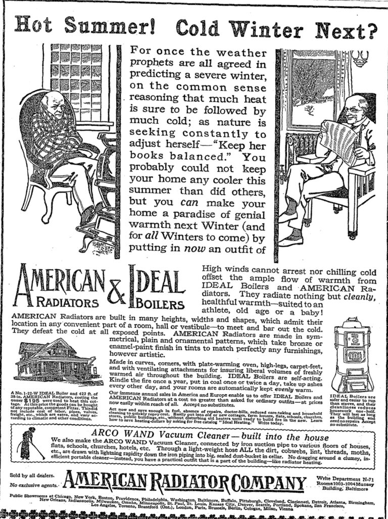 advertisement for the American Radiator Company - September 11th, 1913