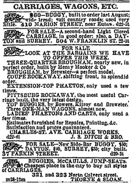 Advertisement for Carriages, Wagons, Etc.