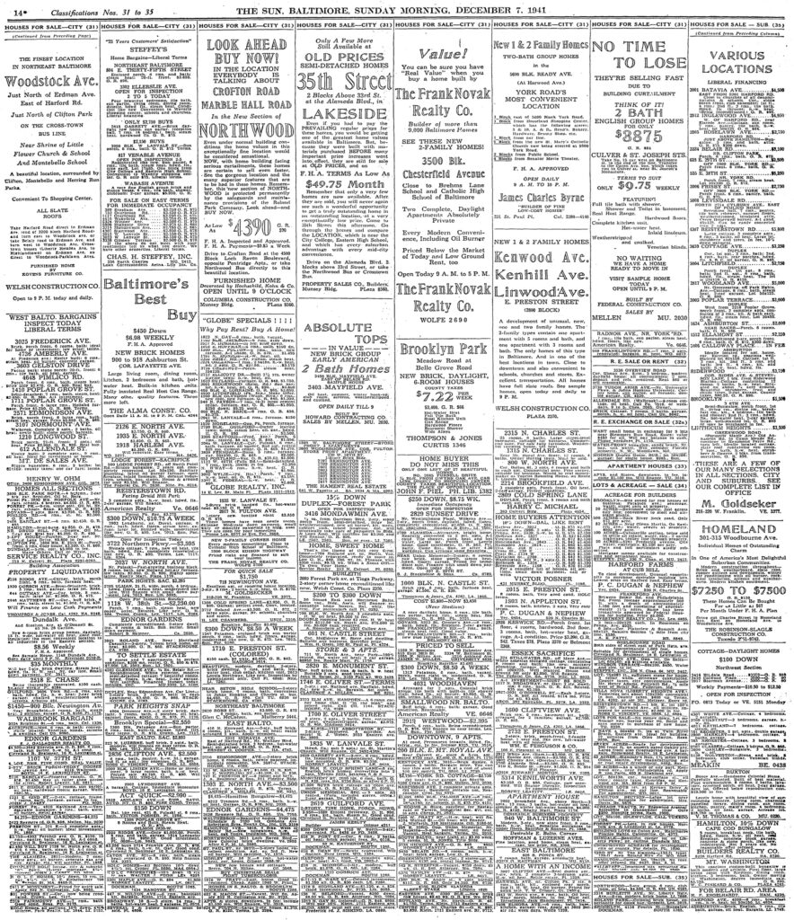 Baltimore Sun classifieds - December 7th, 1941