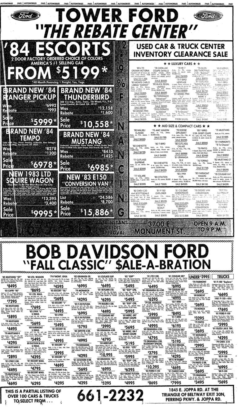 Ford ads from October 16th, 1983