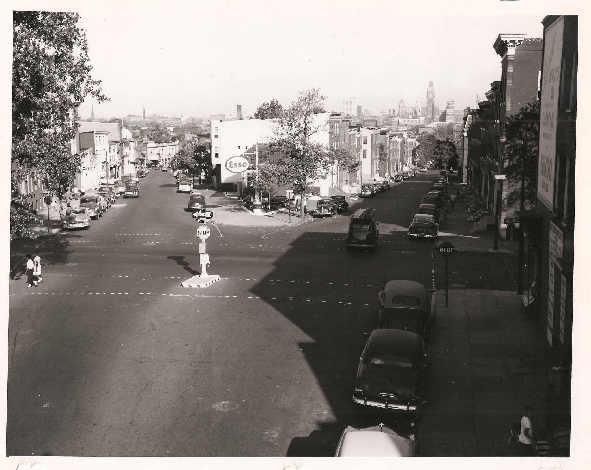 Then and Now: Intersection of Fulton, Hollins, and Frederick in 1954