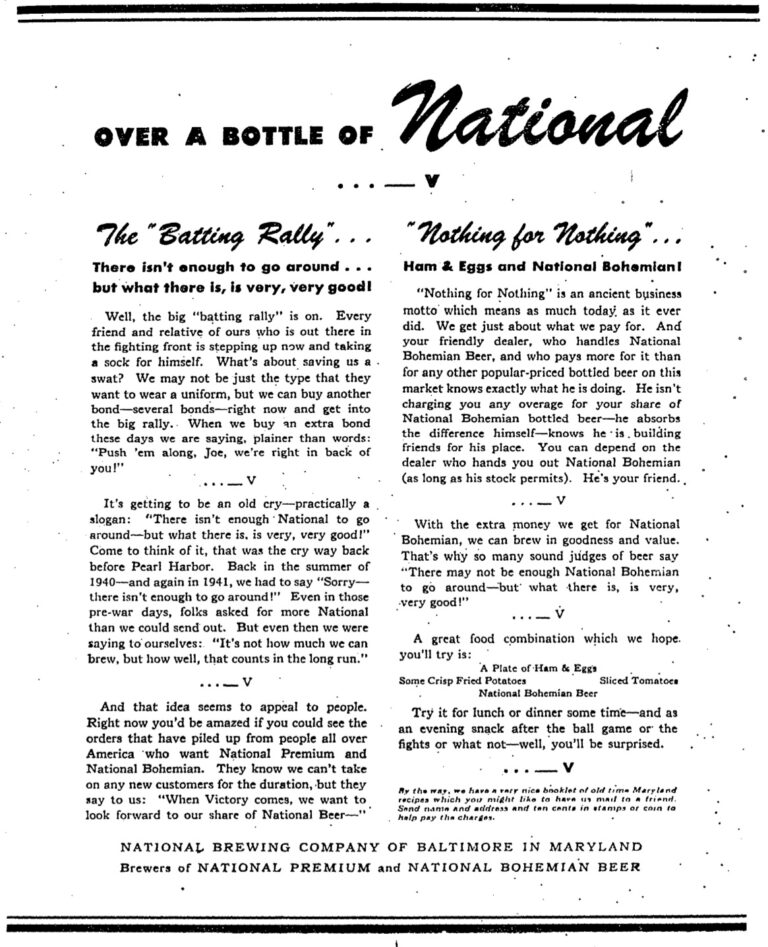 National Brewing Company advertisement