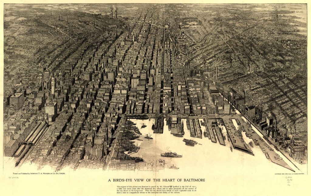 1912 bird's-eye view of Baltimore