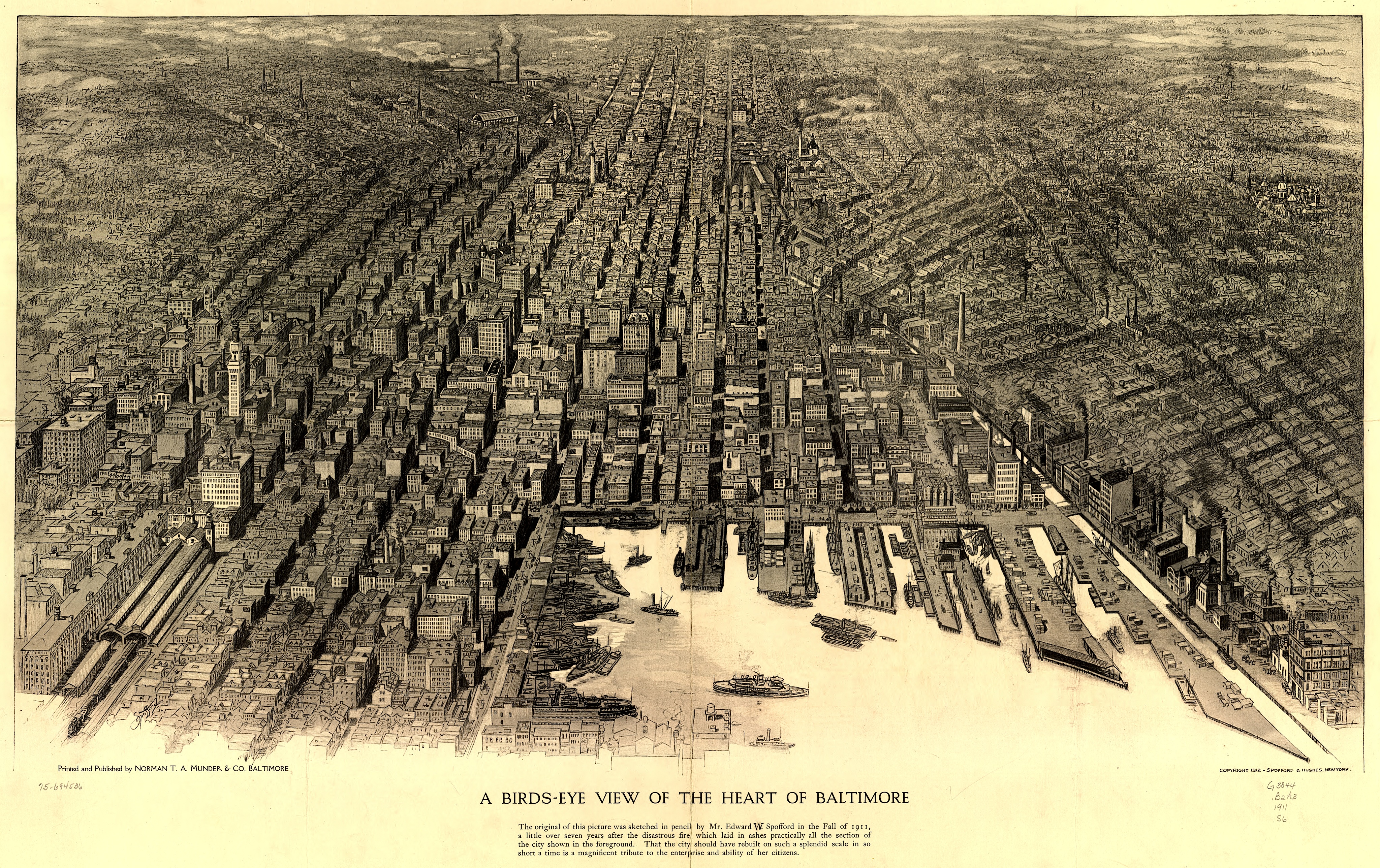 Incredibly Detailed 1912 Bird's-Eye View of Baltimore