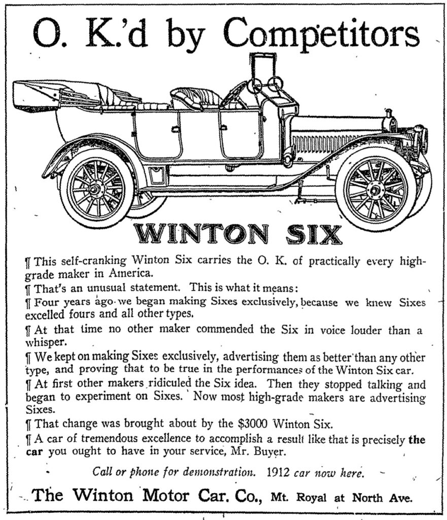 Winton Motor Company advertisement - 1911