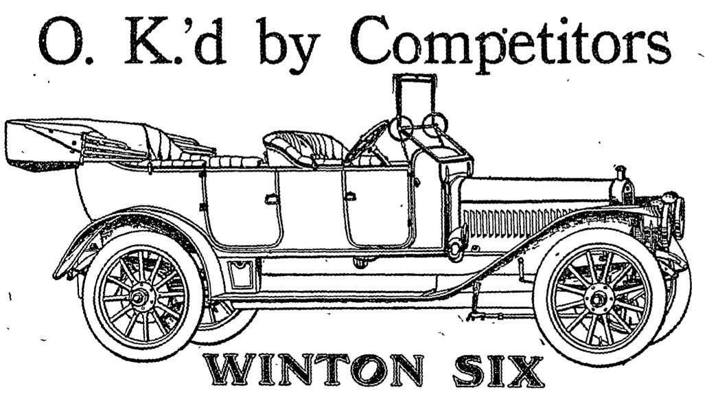 1911 Advertisement for Winton Six at Mt. Royal and North Ave.