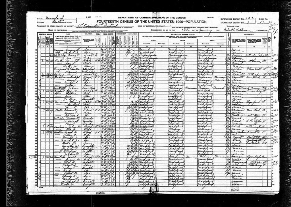 Diehlmann family in the 1920 U.S. Census