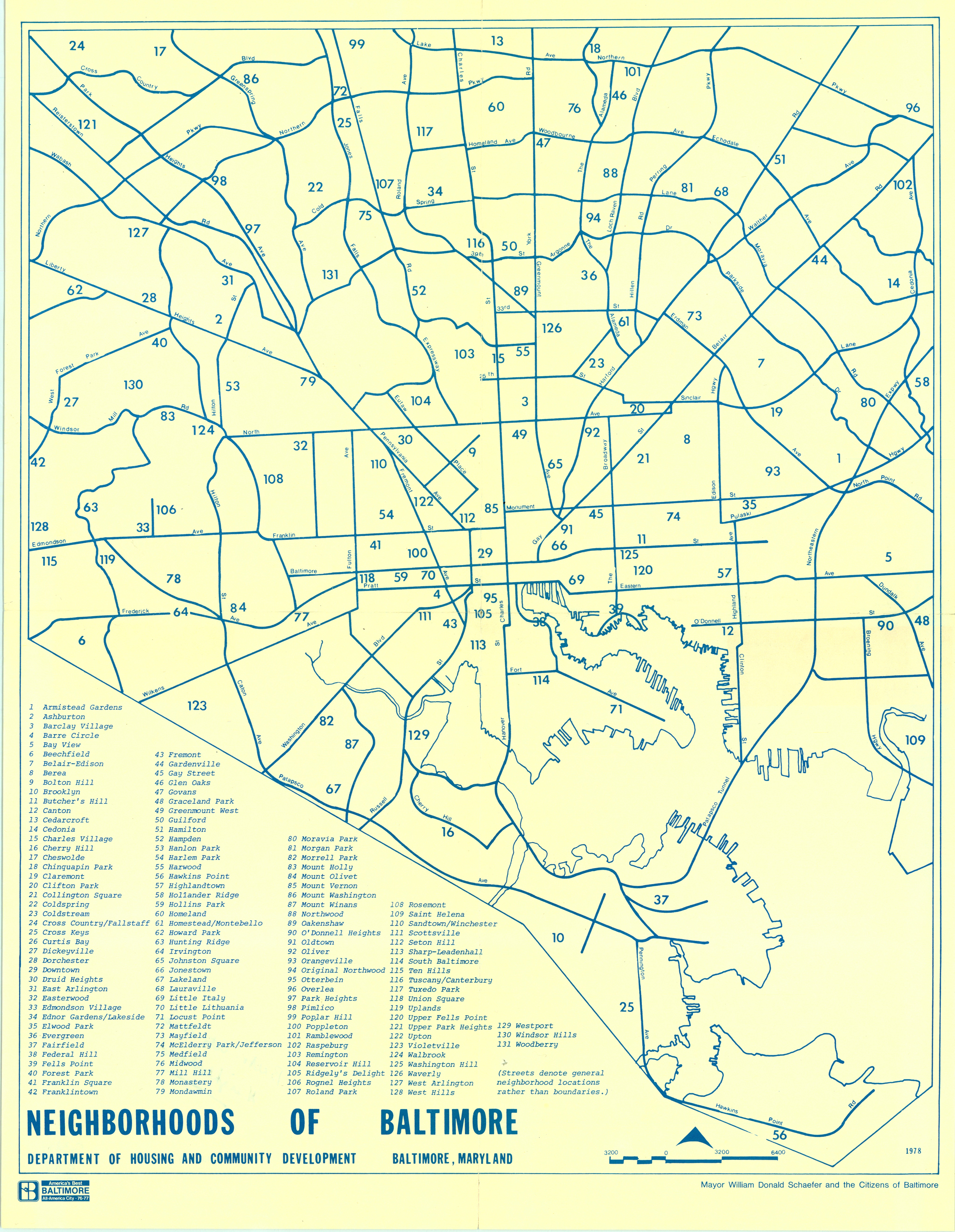 Neighborhoods Map Baltimore in 1978
