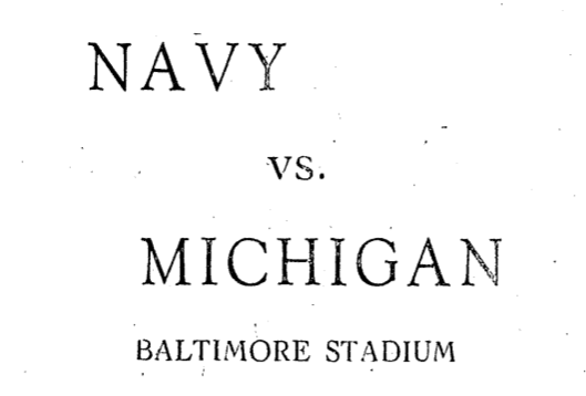 October 30th, 1926: Navy vs. Michigan
