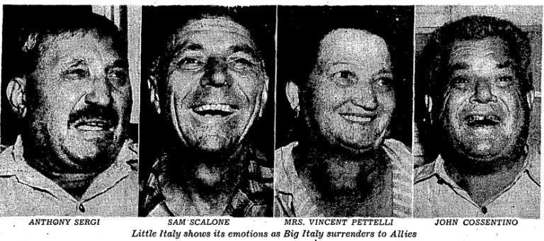 Little Italy residents in 1943 react to Italian surrender
