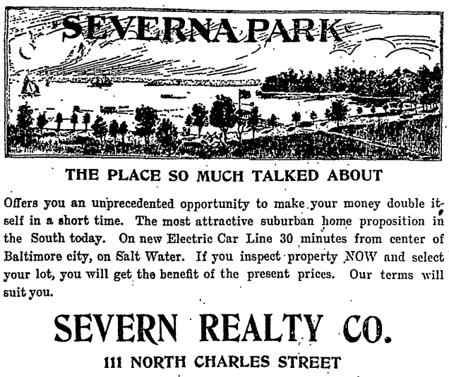 Severna Park advertisement in 1909
