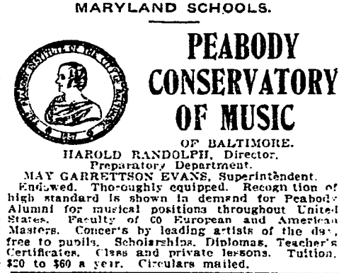 Peabody Conservatory of Music advertisement