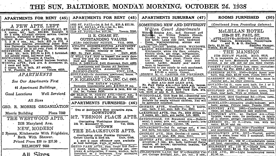 Apartment Listings 75 Years Ago Today