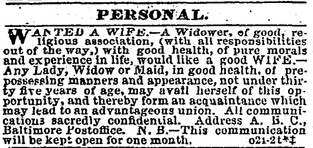 1863 Advertisement for A Wife