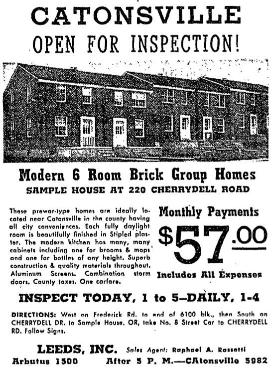 Catonsville home advertisement