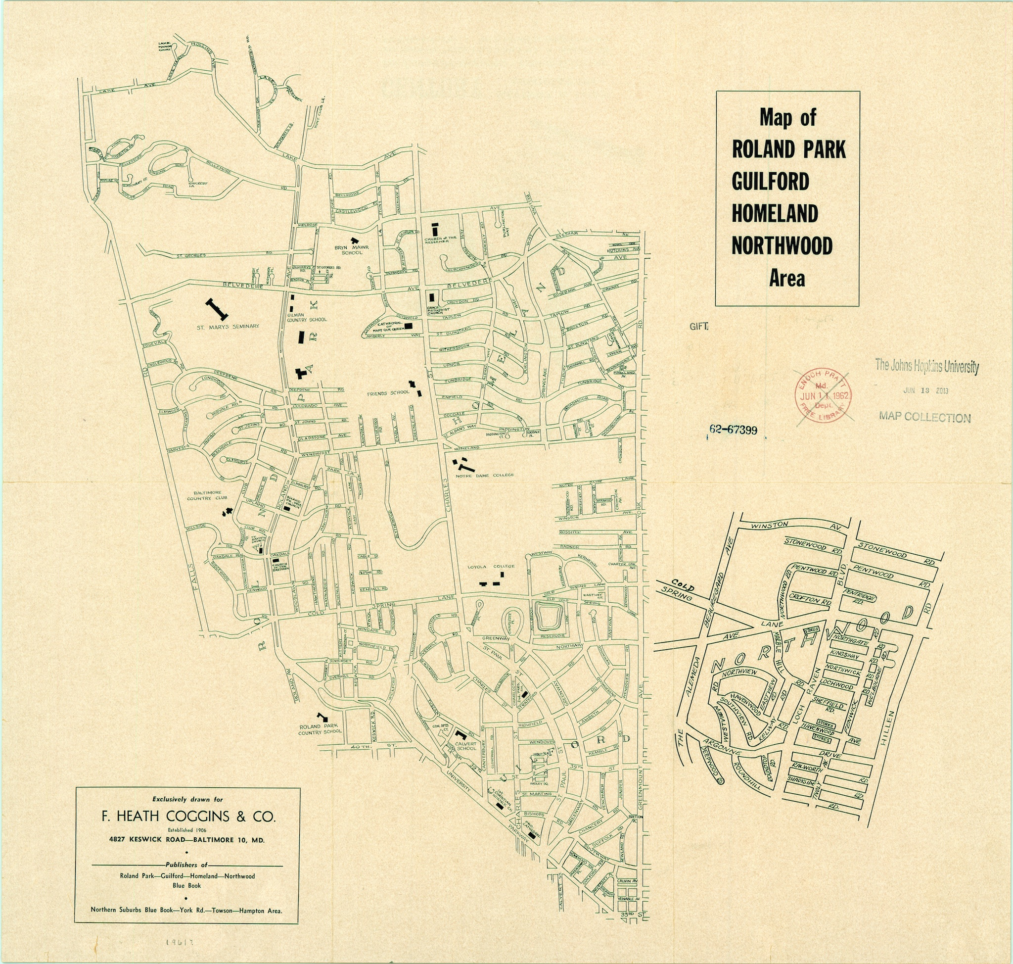 Map of Roland Park in 1961