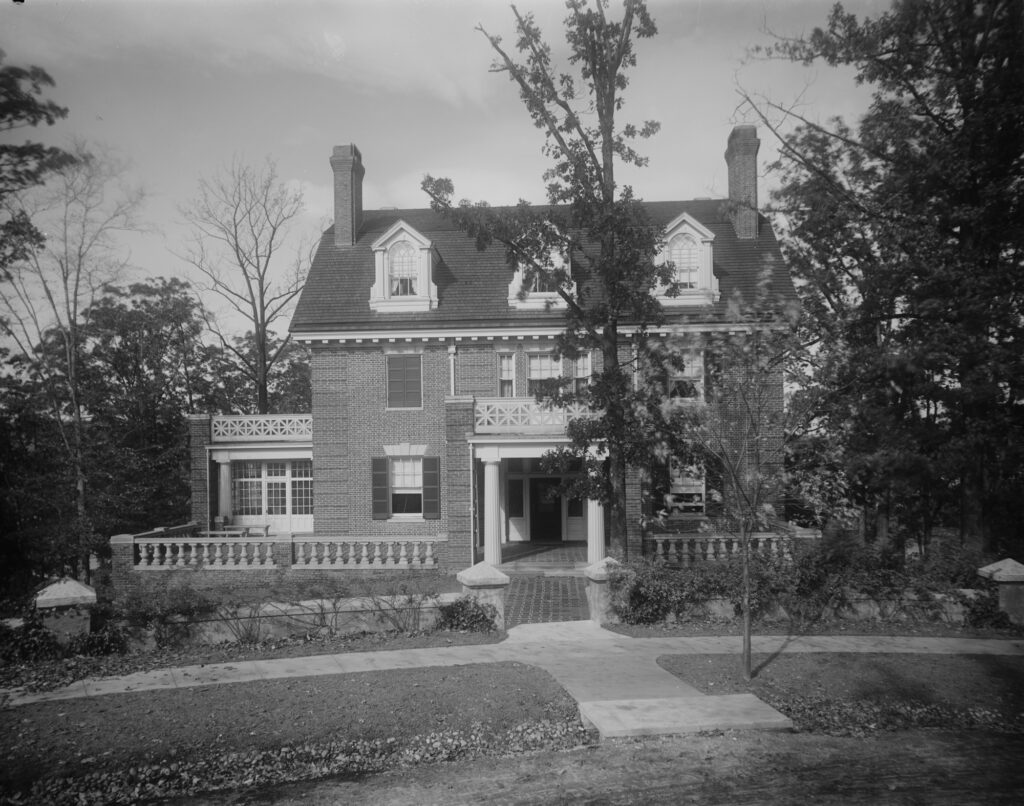 front and garden of Roland Park home