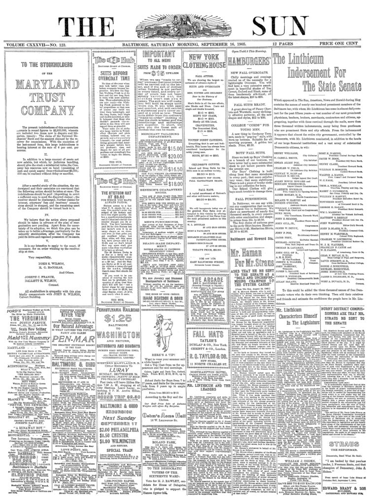 Baltimore Sun - September 16th, 1905