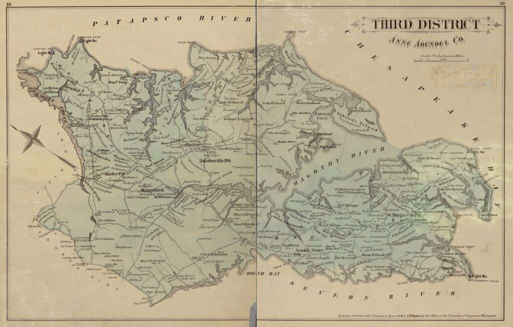 1877 map of Anne Arundel County