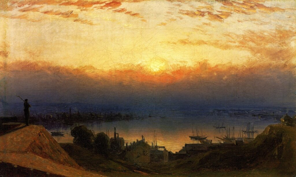 """Sanford Robinson Gifford, Basin of the Patapsco from Federal Hill, Baltimore, 1862, 1862, Frank M. Gren, """"Annapolis Collection"""""""