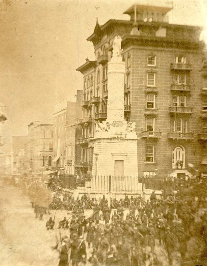 6th Massachusetts bivouacked in Monument Sq.