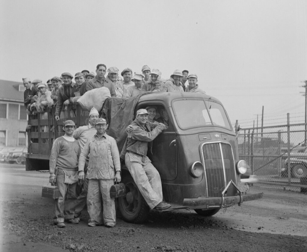 painters at the Bethlehem-Fairchild shipyard in May 1943