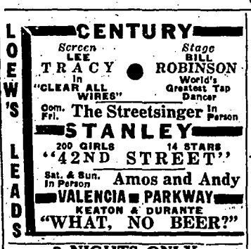 1933 advertisement for Stanley Theatre