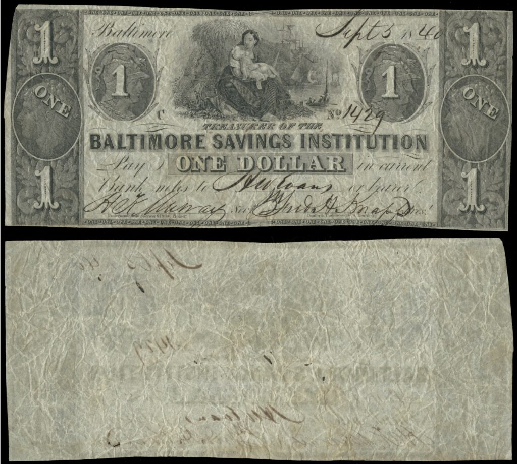 Baltimore Savings Institution - one dollar (1840)