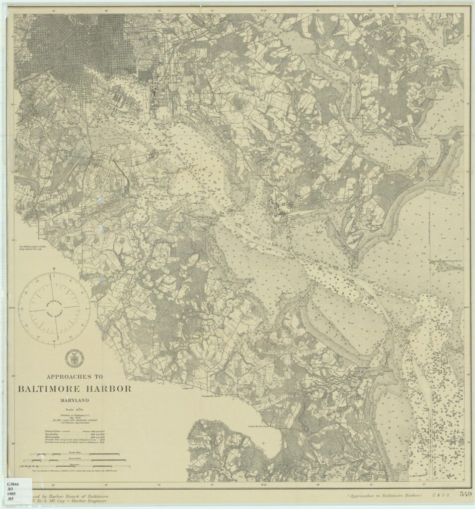 1905 chart of approaches to Baltimore harbor