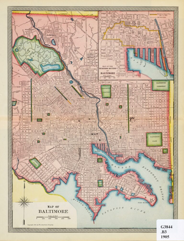 1905 map of Baltimore
