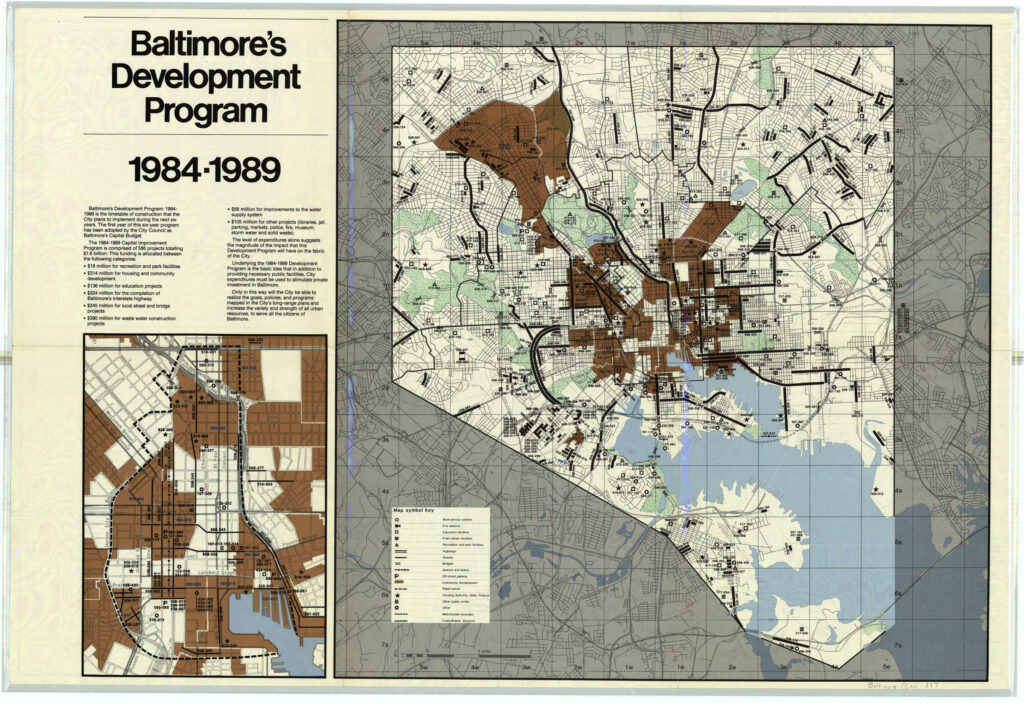 1984-1989 development map for Baltimore