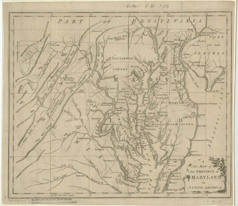 1780 map of Maryland
