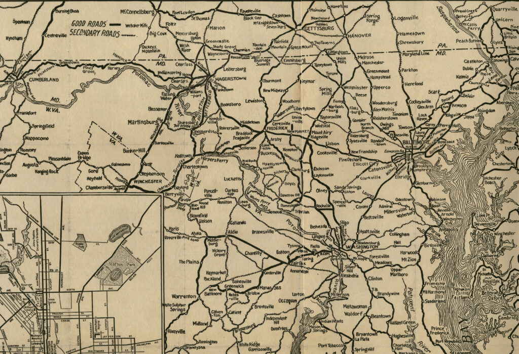1920s road map of Maryland