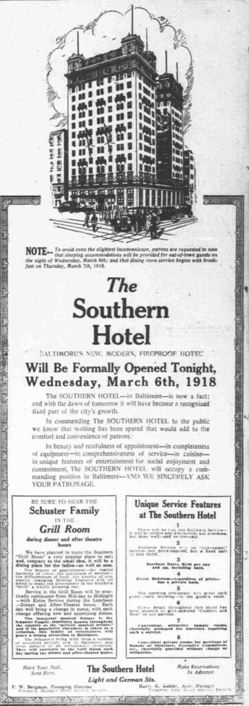 Southern Hotel advertisement