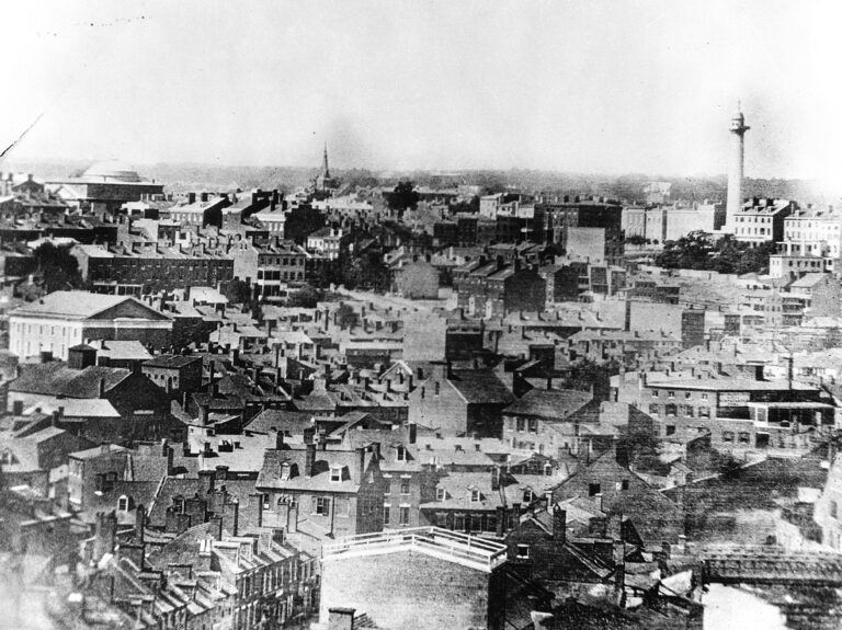 Historic American Buildings Survey, From an old photo, DISTANT VIEW (Left to right, Church at Calvert and Pleasant Streets and First Unitarian Church, Charles and Franklin Streets) - Washington Monument, Mount Vernon Place & Washington, Baltimore, Independent City, MD