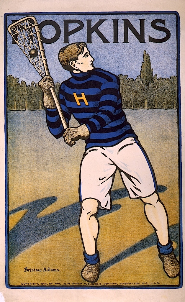 Hopkins student playing lacrosse by Bristow Adams