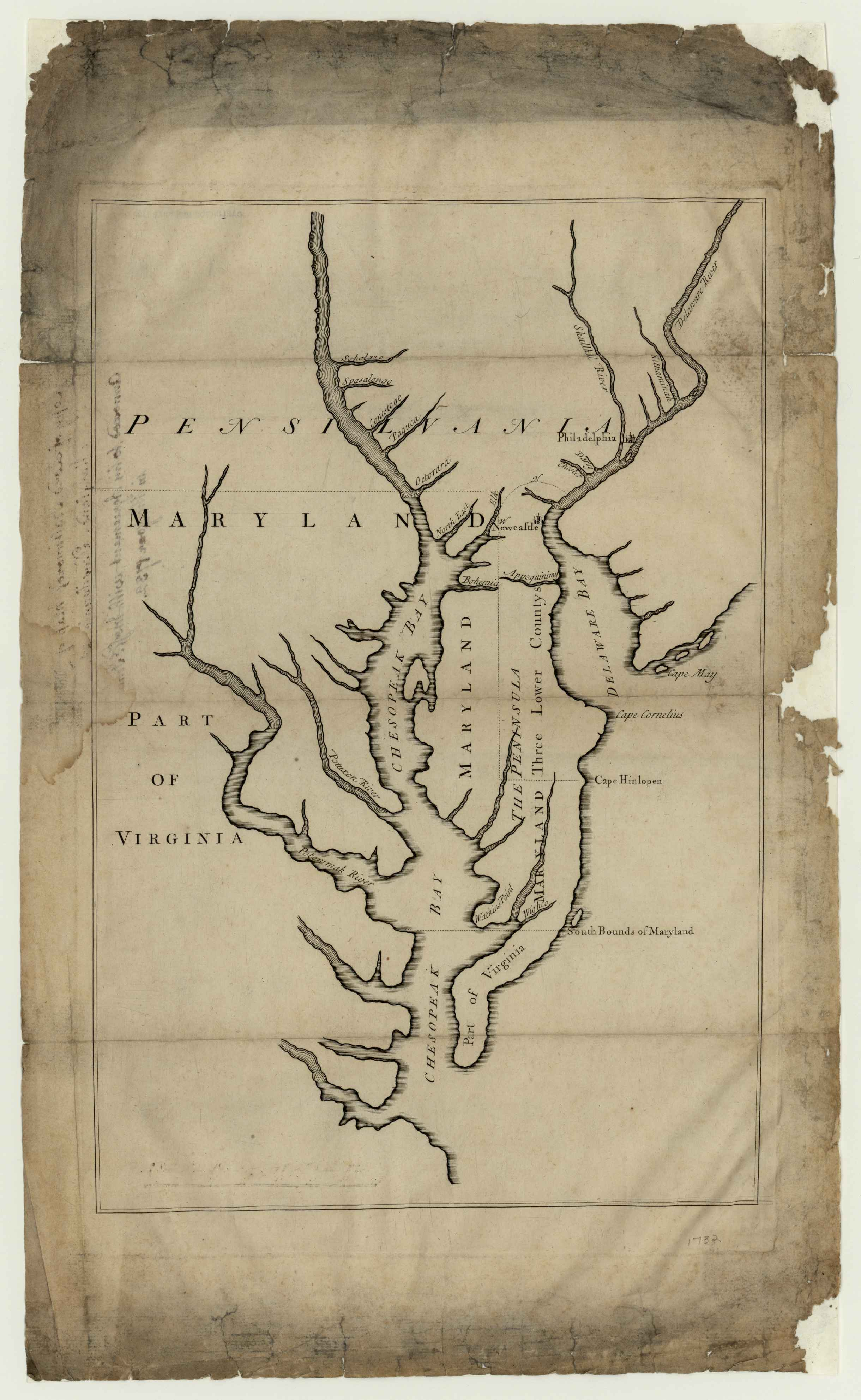 Description Lord Baltimore's map of Maryland, Pennsylvania, etc., annexed to his agreement with Messrs. Penn in the year 1732. Map made to accompany agreement between Lord Baltimore and Messrs. Penn