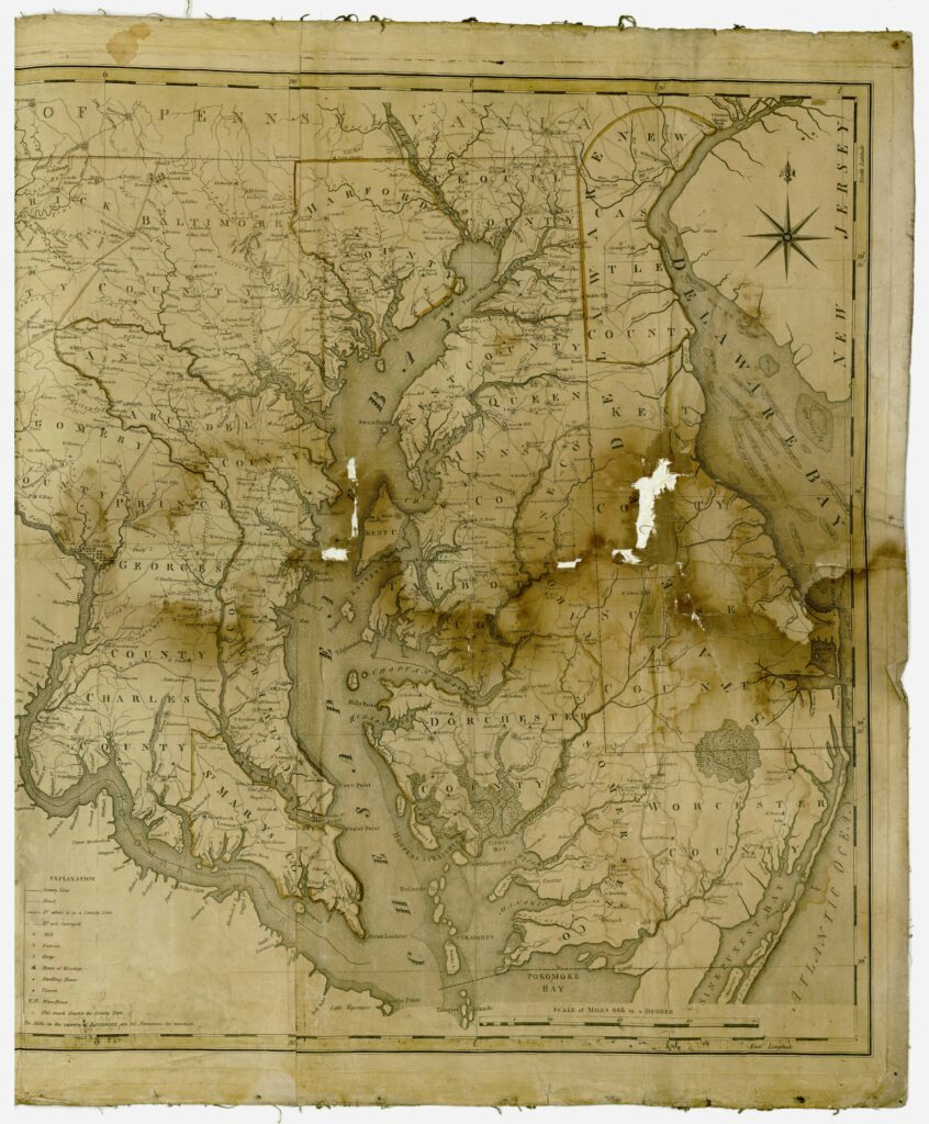 "Description Map of the State of Maryland, laid down from an actual survey of all the principal waters, public roads, and divisions of the counties therein, describing the situation of the cities, towns, villages, houses of worship and other public buildings, furnaces, forges, mills, and other remarkable places, and of the Federal Territory, as also a sketch of the State of Delaware shewing the probable connexion of the Chesapeake and Delaware Bays, June 20th, 1794.  Relief shown pictorially; Hand colored; Engraved by J. Thackara & J. Vallance; Includes ""Plan of the city of Washington and Territory of Columbia"" and a dedication to the Governor, the Senate and House of Representatives of the state of Maryland."