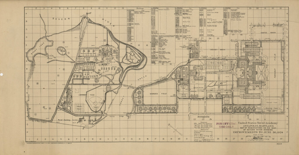 """United States Naval Academy, Annapolis, Maryland, Map of Reservations on S.W. Bank of Severn River showing Improvements to June, 1924"""