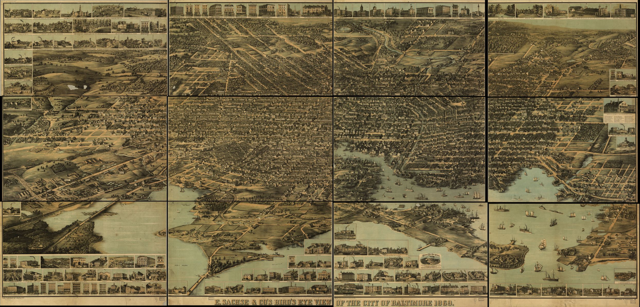 Bird's Eye View of Baltimore in 1870
